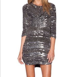 NWT Parker Petra metallic silver sequin dress